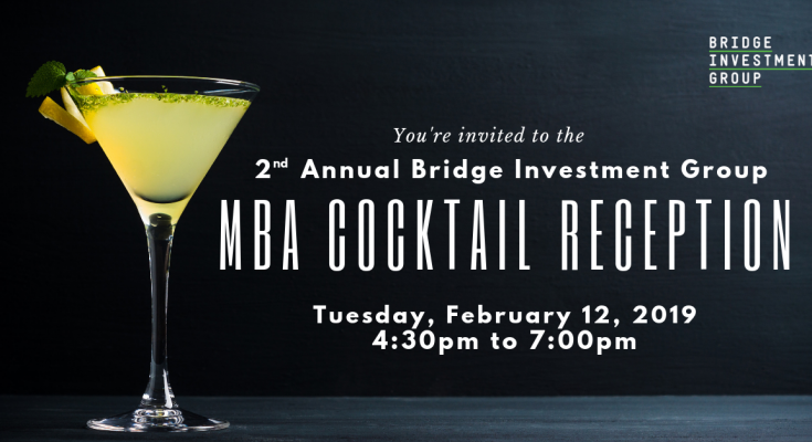 Please join The Bridge Investment Group Debt Team for cocktails and hors d'oeuvres.