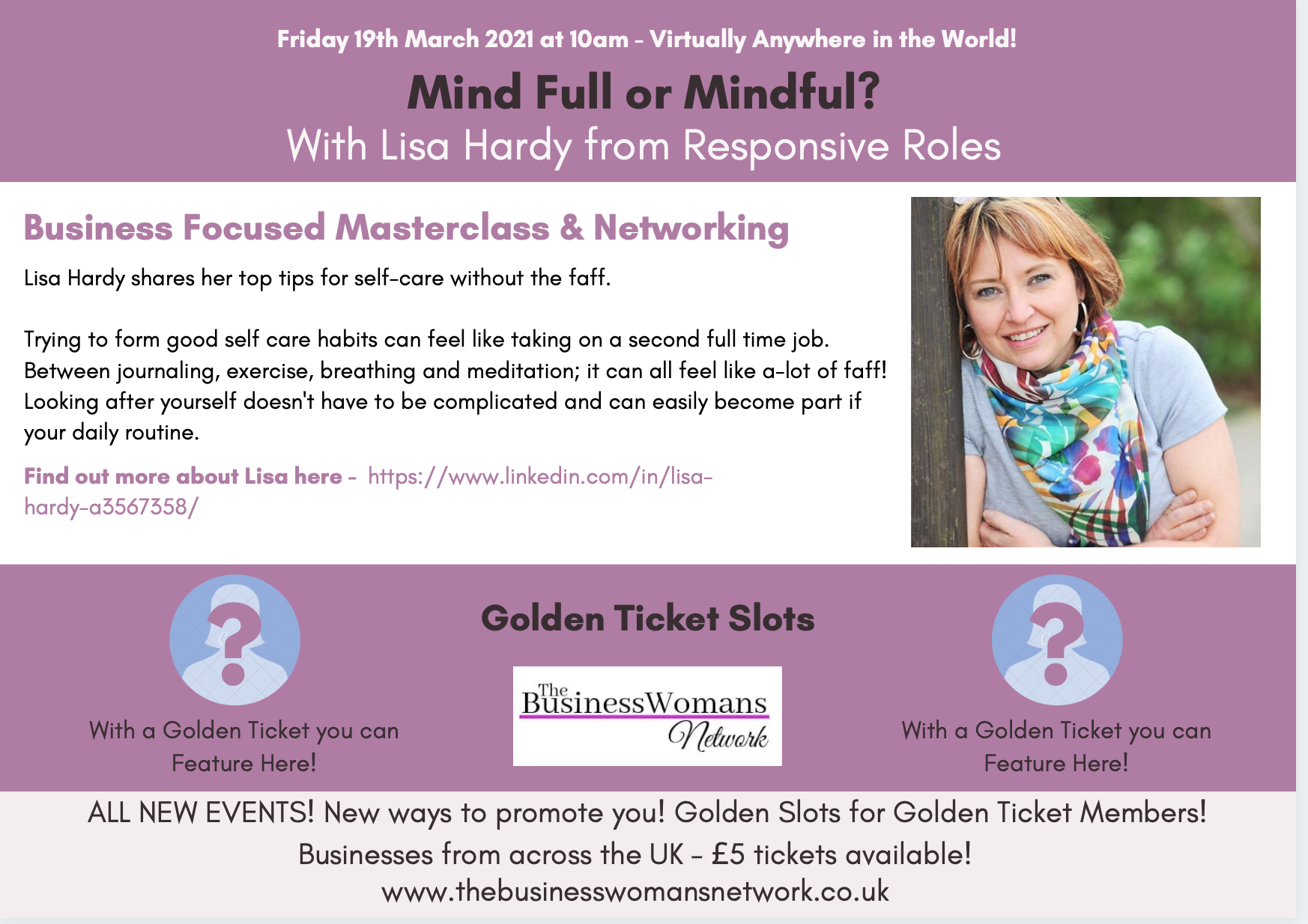 Mind Full or Mindful with Lisa Hardy - Networking and Coaching